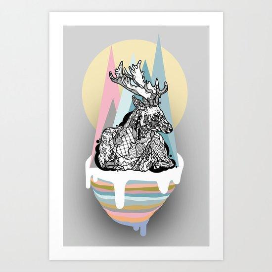 dreaming deer Art Print