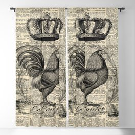 western country french chicken kitchen art farmhouse rooster Blackout Curtain