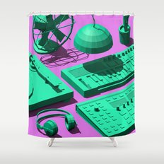 Low Poly Studio Objects 3D Illustration Shower Curtain