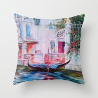 venice Throw Pillows featuring Venice by OLHADARCHUK
