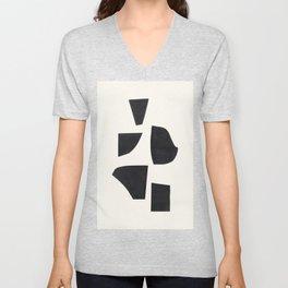 Bump & Kiss Minimalist Modern Mid Century Black Organic Shapes Pattern Paper Collage Unisex V-Neck