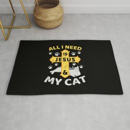 All I Need Is Jesus And My Cat Kitten Kitty Christian Faith Rug