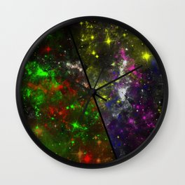 Parallel Universe - Split 'space' artwork showing 2 opposing galaxies Wall Clock
