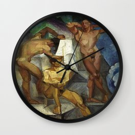 Young Bathers by George Pauli Nude Male Art Wall Clock