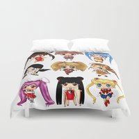 anime Duvet Covers featuring Anime Pigtails by artwaste