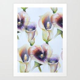 Seamless Watercolor Arum Calla Lilies Art Print