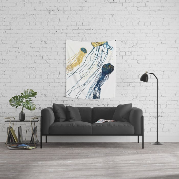 Metallic Jellyfish II Wall Tapestry