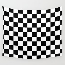 Black Checked Racetrack Flag Chessboard Pattern Wall Tapestry