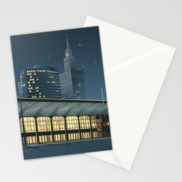 Monumental city at night Stationery Cards