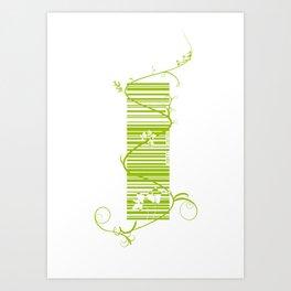 Barcode & Swirls Art Print