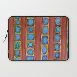 Blue Circles Within Red Stripes Laptop Sleeve