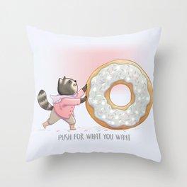 Kawaii Raccoon and Donut Throw Pillow
