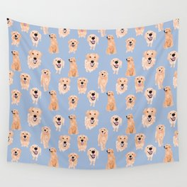 Golden Retrievers on Blue Wall Tapestry