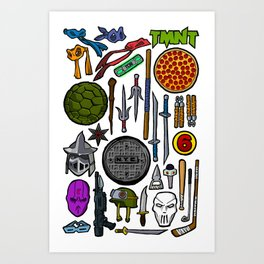 TMNT Weapons & Masks Art Print