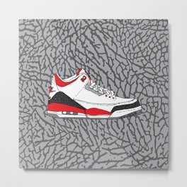 Jordan 3 Fire Red Metal Print