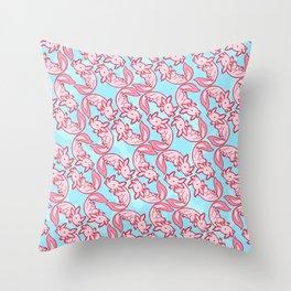 Kawaii Axolotl Pastel Chido Pink Throw Pillow