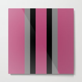 Mauve, Black and Gray Sophisticated Stripes Metal Print
