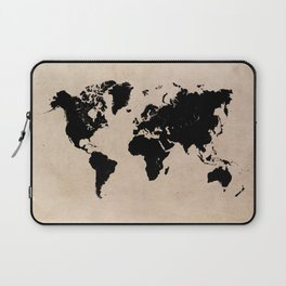 world map 94 black #worldmap #map #world Laptop Sleeve