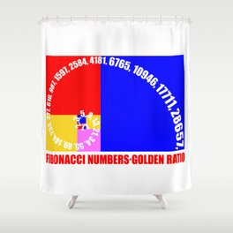 Fibonacci Numbers Typography,  Golden Ratio Shower Curtain