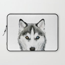 Siberian Husky dog with two eye color Dog illustration original painting print Laptop Sleeve