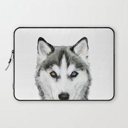 Siberian Husky dog with two eye color Dog illustration original painting print Laptop Sleeve