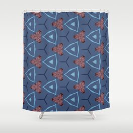 Seattle geo floral red on blue pattern Shower Curtain