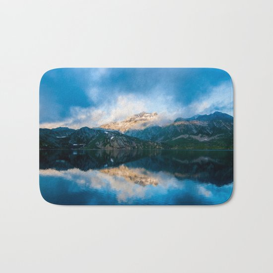 Blue lake reflections Bath Mat