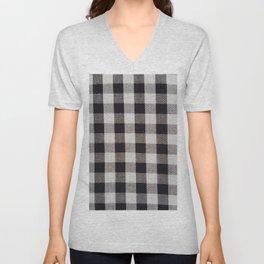 Vintage Geometric Black White Gray Picnic Stripes Unisex V-Neck