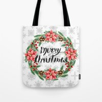 merry christmas Tote Bags featuring Merry Christmas by Julia Badeeva