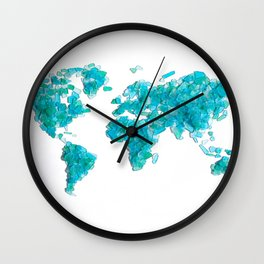 Turquoise Sea Glass World Map Wall Clock