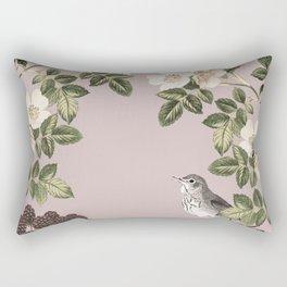 Birds and the Bees Pink Berry Rectangular Pillow