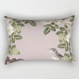 Birds and the Bees Pink Berry Rectangular Pillow