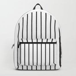 Dark Grey on White Pinstripes | Vertical Thin Pinstripes | Backpack