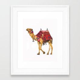 Marrakesh Camel Watercolor Pom Pom Boho Framed Art Print