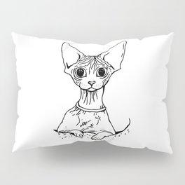 Big Eyed Pretty Wrinkly Kitty - Sphynx Cat Illustration - Nekkie - Cat Lover Gift Pillow Sham
