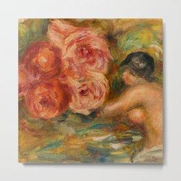 """Auguste Renoir """"Roses et Étude de Gabrielle"""" Metal Print"""