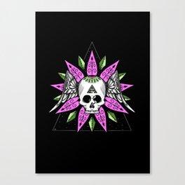 Flower Skull vector art Canvas Print