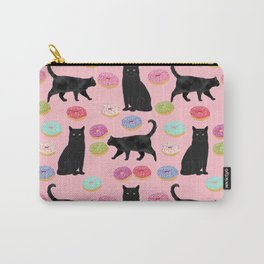 Black cat donuts cat breeds cat lover pattern art print cat lady must have Carry-All Pouch