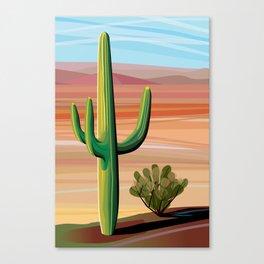Saguaro Cactus in Desert Canvas Print