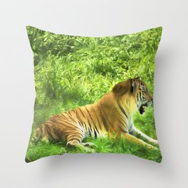 Tiger In Forest Throw Pillow