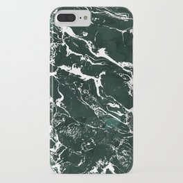Dark green forest watercolor white marble christmas pattern iPhone Case