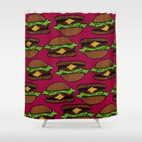 hamburger Shower Curtains featuring Hamburger by nsvtwork
