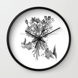 Waterlilies and goldfishes Wall Clock