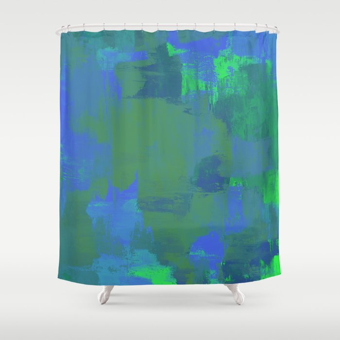 A Different View Of Earth Abstract Textured Globe Painting Shower Curtain By Printpix