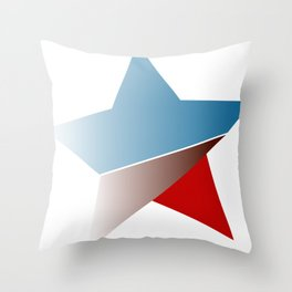 Ombre red white and blue star Throw Pillow