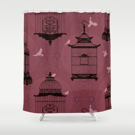 Rasberry Empty Brid Cages Shower Curtain