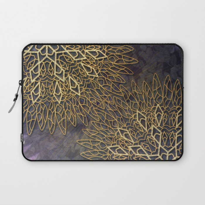 Gold Mandalas on Violet Background Laptop Sleeve