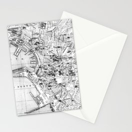 Vintage Map of Genoa Italy (1906) BW Stationery Cards