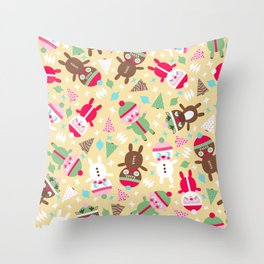Santa Baby (yellow) Throw Pillow