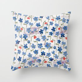 Blue Anemone - Springflowers Throw Pillow